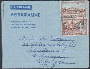 TONGA 1962 Formular aerogramme commercially used to NZ ex Nuku'alofa........K852