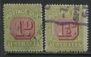 Australia 1922 1d and 1 1/2d Postage Dues used