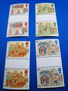 GREAT BRITAIN  -  SCOTT # 1145-1148   GUTTER PAIRS     MNH   (gg)