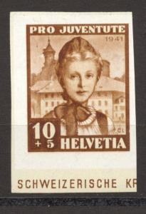 Switzerland, 1941 Pro Juventute, 10 Cts. imperf MNH from Souvenir Sheet,