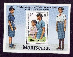 Montserrat-Sc#711- id5-unusedNH sheet-Military-Uniforms-1989-