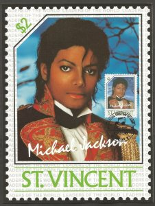ST VINCENT STAMP,1985 MICHAEL JACKSON $2 STAMP.FIRST DAY OF ISSUE.MAXI CARD