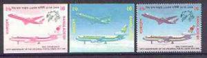 Bangladesh 1999 Airliners 6t imperf progressive proofs in...