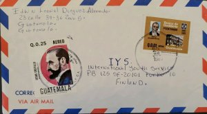 A) 1983, GUATEMALA, COVER SHIPPED TO FINLAND, AIRMAIL, BANK OF WEST FIRST CENTEN