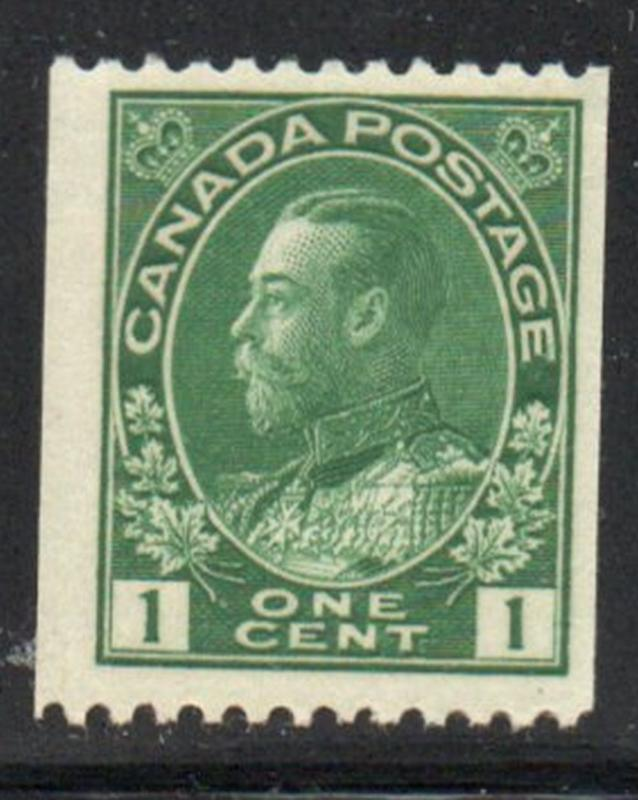 Canada Sc  131 1915 1c dark green George V Admiral issue coil stamp mint NH