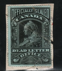 Canada #OX2 Used On Piece With Usual Crease Due To Sealing Of Envelope