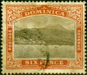 Dominica 1907 6d Black & Chestnut SG42 Average Used