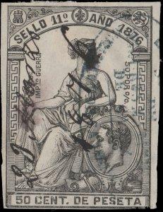 ESPAGNE / SPAIN / ESPAÑA Fiscales 1876 - Póliza Sello 11° 50 c de Pta - (faults)