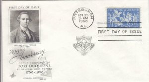 1958, 200th Anniv. Fort Duquesne, Artcraft, FDC (D14481)
