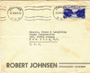 1939, Stavanger, Norway to New York, NY, Advertising Cover (32118)