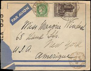 1940 FRANCE MULTI STAMP TO UNITED STATES WITH CENSOR TAPE...