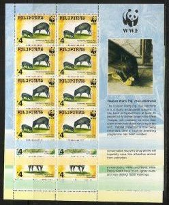 STAMP STATION PERTH Philippines #2476a-9a 1997 WWF Animals m/s MNH Set  4 sheets