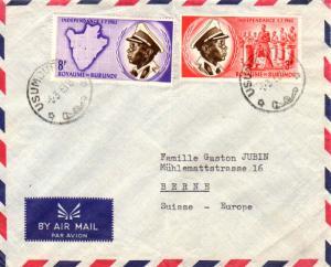 Ruanda Urundi Burundi 3F and 8F Independence 1963 Usumbura-D. Airmail to Bern...