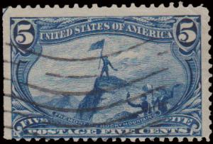 United States Scott 287 Used with pulled perforation.