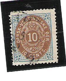 Danish West Indies (DWI) Scott #10c Used 2016 CV $32.50