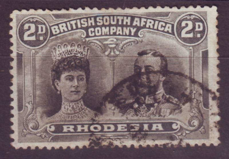 J17089 JLstamps 1910 rhodesia used #103 king and queen