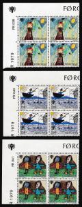 Faroe Is. International Year of Child 3v Corner Blocks of 4 with margins