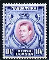 Kenya, Uganda & Tanganyika 1938-54 KG6 Crowned Cranes 10s...