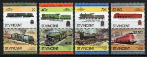 ST.VINCENT SG834/41 1984 RAILWAY LOCOMOTIVES MNH