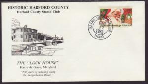 Hartford County Stamp Club.MD 1983 Lock House Cover BIN