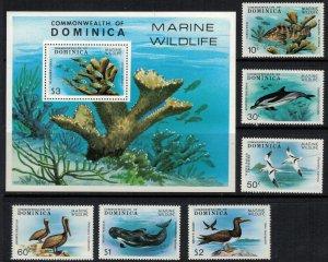 Dominica #618-24* NH  CV $14.75  Marine wildlife set & Souvenir sheet