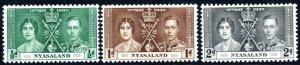 1937 Nyasaland Sg 127/129 KGVI Coronation Issue Mounted Mint