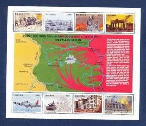 UGANDA - Scott 1311 - FVF MNH S/S - end of WWII - map, tank, airplanes - 1995