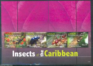 ST. VINCENT GRENADINES CANOUAN INSECTS OF THE CARIBBEAN  SHEET MINT  NH