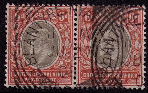 British Central Africa #  73 Used VF light pair Cat $ 120