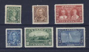 6x Canada Stamps; #211 to #216 MNH VF. Guide Value = $52.50