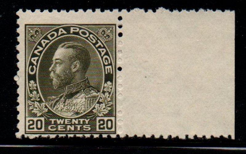 Canada Sc 119 1925 20 c olive green G V Admiral issue stamp mint NH
