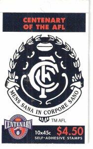 Centenary AFL Stamp Booklet 3X  Australia Carlton Blues  Australia 1996 CTO