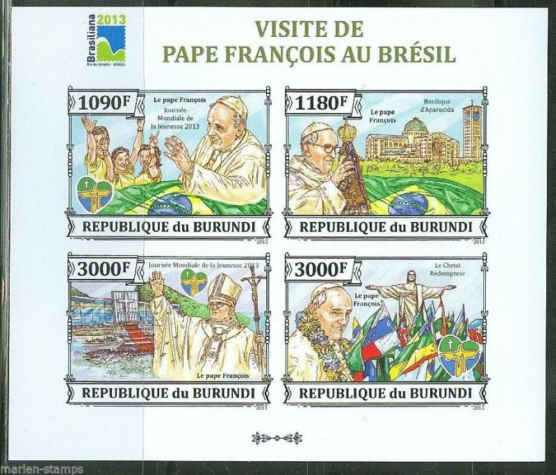 BURUNDI 2013 VISIT OF POPE FRANCIS TO BRAZIL  SHEET IMPERF MINT NH