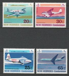 British New Hebrides 1972 Airplanes Scott # 151 - 154 MNH