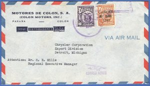 X981 -  PANAMA 1947 Airmail cover, COLON Motors Automobile Advertising to USA
