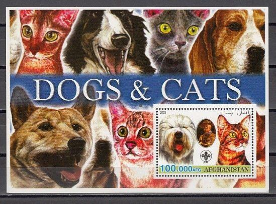 Afghanistan, 2003 Cinderella issue. Cats & Dogs, Blue s/sheet.