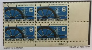 US #1358 PB (MNHOG) [Plate Block Mint No Hinge Original Gum] Arkansas River