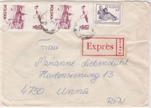Poland 1982 Expres Multiple Stamps Cover to Unna Ref 25614