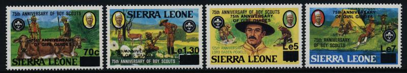 Sierra Leone 694-7 MNH Scouts, Girl Guides o/p, Animals, Lord Baden-Powell