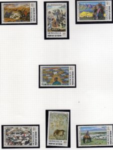 MONGOLIA 1990 PAINTINGS DIPINTI COMPLETE SET SERIE COMPLETA MNH