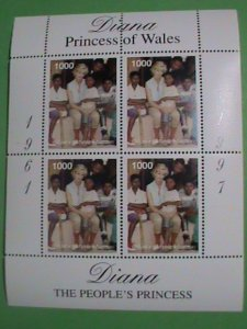 BHUTAN STAMP-1997-DIANA- PRINCESS OF WALES WITH THE AIDS CHILDREN-MINT-NH  S/S