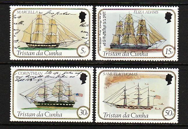Tristain Da Cunha 306-09 MNH 1982 Various Sailing Ships Full Set VF