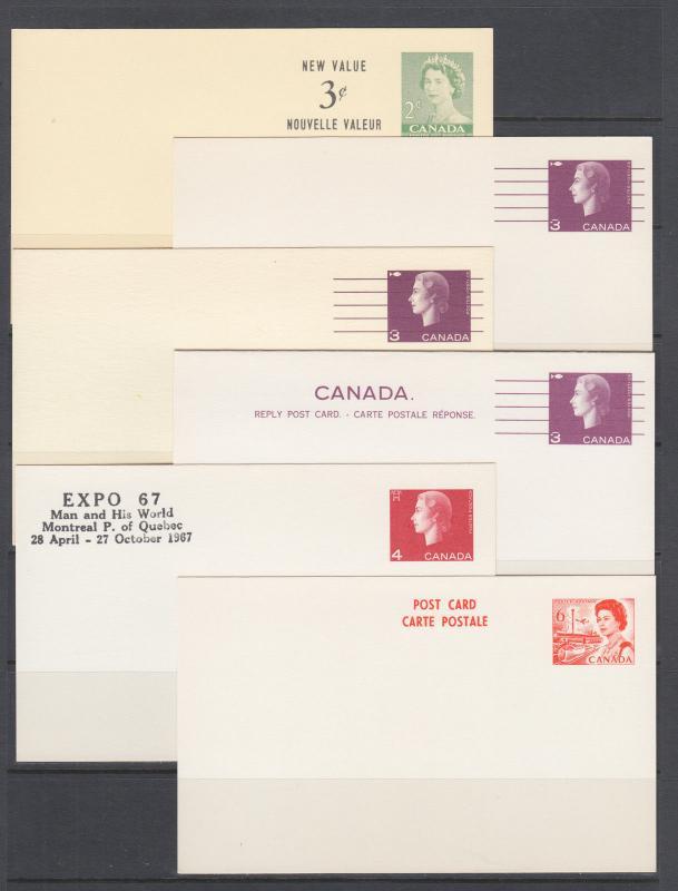 Carte Canada Uni.Canada Uni Ux83 Ux103 Unused 1953 1967 Postal Cards 12 Different