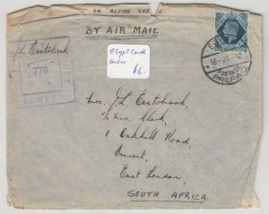 GB 1942 Censor Airmail To East London South Africa Postal History  J6070