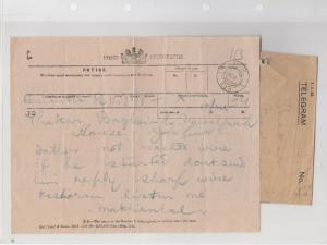 Jaipur 1919 Posts Telegram + Envelope Ref: R7977