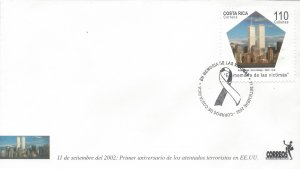 COSTA RICA MEMORY to the VICTIMS of 9/11, WORLD TRADE CENTER Sc 560 FDC 2002
