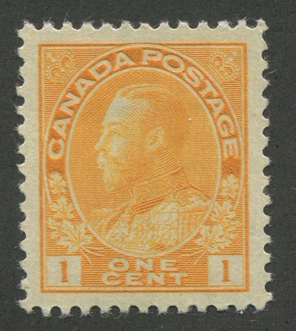 Canada #105iv 1c Pale Bright Org Yellow Admiral Issue Die 2 Dry Ptg.- GEM-100 LH
