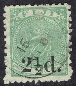 FIJI 1891 CROWN VR 21/2D SURCHARGED 2D USED