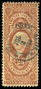 B415 U.S. Revenue Scott R44c 25c Certificate, 1866 handstamp cancel