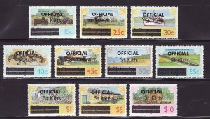 St. Kitts-Sc#O1-O10- id7-unused NH Official set-Ships-1980-